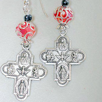Catholic Earrings 8 Way Cross Saint Joseph, St Christopher, Sacred Heart,  Lady of Grace, Infant of Prague, Lady of Lourdes, St Anthony