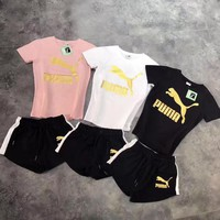 PUMA Fashion Sport Short Sleeve Shirt Shorts Set Two-Piece Sportswear