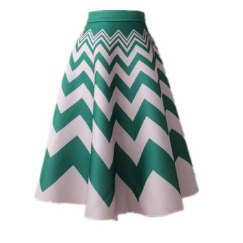 Summer Skirt Women Vintage Retro Striped Pleated Fashion High Waist A-Line Dance Midi Skirt