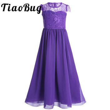 TiaoBug Girls Chiffon Tulle Lace Tutu Cap Sleeves Flower Dress Princess Pageant Birthday Party Dress for Wedding Bridesmaid