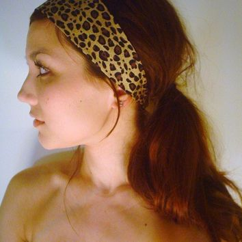 TANZANIAN LEOPARD print Wide headband dress wrap  CHEETAH animal hair head band jungle