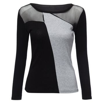 Stylish Scoop Neck Long Sleeves Voile Splicing T-Shirt For Women
