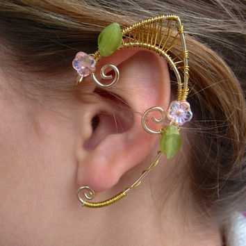 Pair of Golden Copper and Brass Woven Wire Garden Faerie Elf Ear Cuffs with Czech Glass Flowers and Leaves Renaissance, Elven