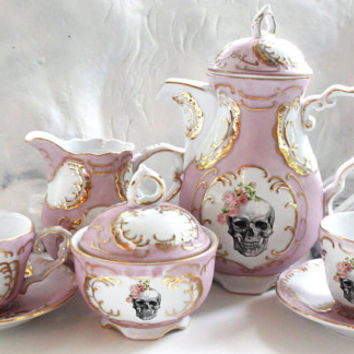 Skull Tea Set, Pink and Gold Customized Tea Set, Skull Flower Skeleton, Halloween Teacups, Sugar, Creamer, Design Your Own Goth Tea Party