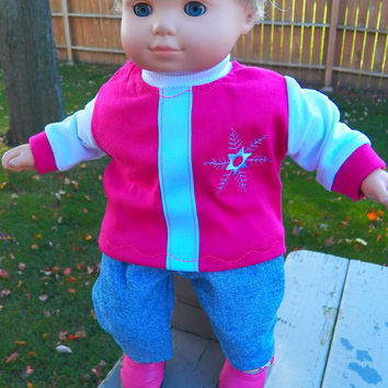 "American Girl Bitty Baby Clothes 15"" Doll Clothes Bright Pink White Snowflake Velcro Open T shirt & Blue jeans"