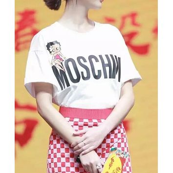 MOSCHINO Trending Women Casual Letter Sexy Girl Print Short Sleeve Pure Cotton T-Shirt Top White I12657-1