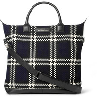 WANT Les Essentiels de la Vie - O'Hare Leather-Trimmed Checked Wool and Organic Cotton-Canvas Tote Bag | MR PORTER