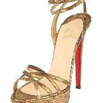 Christian Louboutin PASSIFLORE Ostrich Ankle Strap Sandals Shoes Heels Bronze