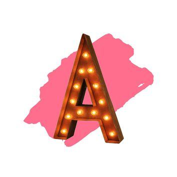 "18"" Letter A Lighted Vintage Marquee Letters (Modern Font/Rustic)"