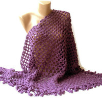 women hand-crocheted shawl, purple,neckwarmer ,winter, gifts for her, stole, fashion accessory