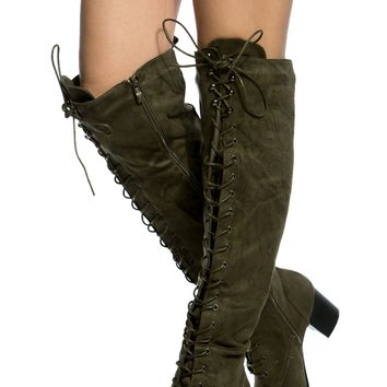 Olive Faux Suede Lace Up Knee High Chunky Boots @ Cicihot Boots Catalog:women's winter boots,leather thigh high boots,black platform knee high boots,over the knee boots,Go Go boots,cowgirl boots,gladiator boots,womens dress boots,skirt boots.