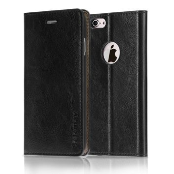 Belemay iPhone 8 Case, iPhone 7 Case, Genuine Cowhide Leather Wallet Case, Classic Protective Flip Cover Slim Book Style with Credit Card Holder, Kickstand, Cash Pocket for iPhone 8 / iPhone 7 - Black