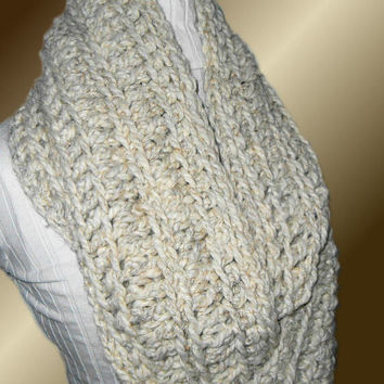 INFINITY SCARF Cowl Knit Crochet Extra Long Circle Loop Infiniti Scarf Neutral Wheat Chunky Hand Made in USA Crochet Wool