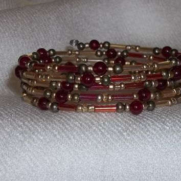 Deep Red Genuine Garnet, Red AB & Gold AB Glass Bugle Beaded Artistan Crafted Wrap Bracelet