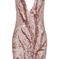 'Atelli' Sequined Mini Dress - Rose Gold