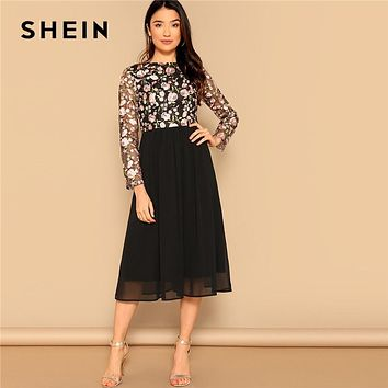 SHEIN Black Elegant Floral Embroidered Mesh Fit and Flare High W dc1bf9c85a52