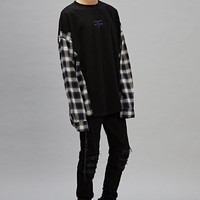 Plaid Sleeves Spliced Hoodie