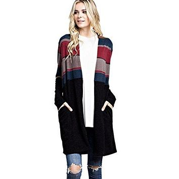 Mitto Shop Mittoshop Women's Multi-Colored Striped Long Open Knit Cardigan With Pockets