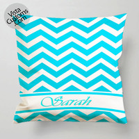 Chevron mint With Initial Your Name pillow case, cover ( 1 or 2 Side Print With Size 16, 18, 20, 26, 30, 36 inch )