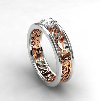 0.31ct Diamond filigree ring, two tone engagement ring, unique, rose gold filigree, white gold ring, vintage style, diamond wedding, custom