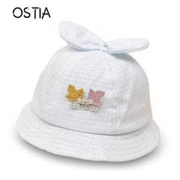 Summer Cute Princess Infant Baby Hat With Leaves Solid Color Lace Hollow Baby Girl Cap Toddler Kids Beach Bucket Hats B03