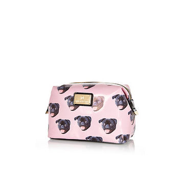 River Island Womens Pink pug print make up bag