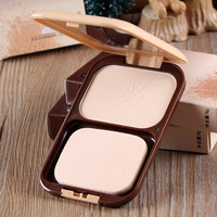 Cosmetic Oil-Control Makeup Pressed Powder Concealer With Puff and Mirror