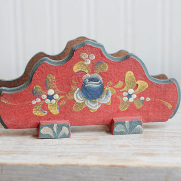 Hand Painted Toleware Napkin Holder - Vintage Folk Art Red