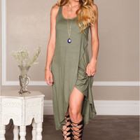 Sleeveless Front Slit Dress