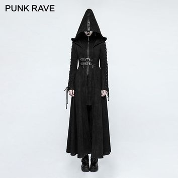 PUNK RAVE Gothic Winter Fitted Dark Raven Angel Full Length Long Coat Wool Blends Vintage Bandage Long Sleeve Hooded Jackets