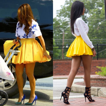 Yellow high waist iAMMI pleaded skirt