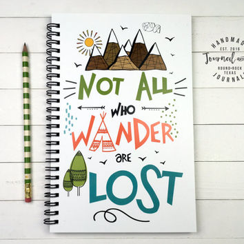 Writing journal, spiral notebook, bullet journal, colorful, sketchbook, blank lined grid, travel journal - Not all who wander are lost