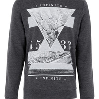 Charcoal Infinite Printed Sweatshirt - Mens Cardigans & Sweaters  - Clothing