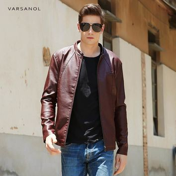 PU Leather Jackets Men Clothes Solid Bomber Jacket Male Business Casual Coats  Clothing Zipper With Pocket