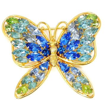 Vintage Butterfly Rhinestone Brooch Napier Blues and Green Large