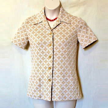 60s Geometric Blouse Vintage Mod Top Retro Bowling Shirt Oversized Collar