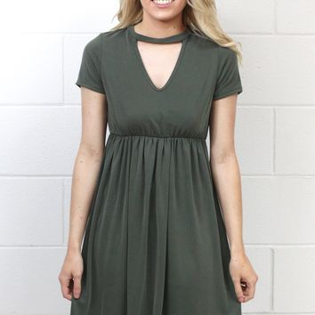 High Neck Keyhole Modal Dress {Olive}