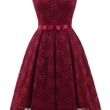 Wine Red Lace Off Shoulder Draped Bow Elegant Party Midi Dress