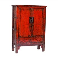 Red cabinet with 2 doors from Shanxi - Antique - . Unique piece from oriental ethnic collection.