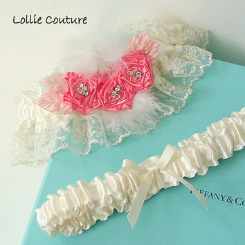 Bridal garters with Vintage Lucia Lammermour Lace couture Wedding Garter Set