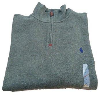 Polo Ralph Lauren Men's Half Zip French Rib Cotton Sweater (Alpine Heather, S)
