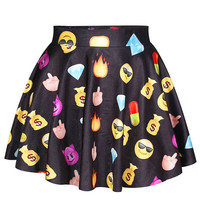 Aoki Fashion - Black Emoji Print Mini High-waisted Skirt