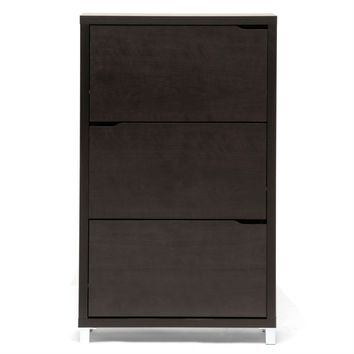 Modern 3 Door Shoe Rack Storage Cabinet in Dark Brown Wood Finish