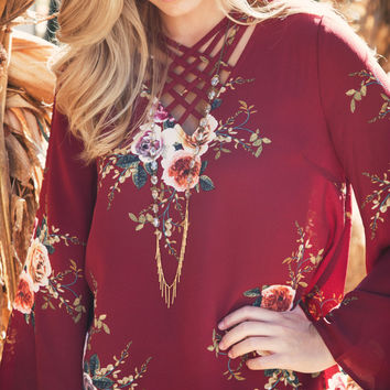 Crossfire Floral Blouse, Burgundy