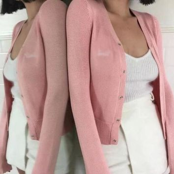Pink Single Breasted V-neck Casual Cotton Cardigan Sweater