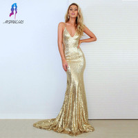 2017 Sexy Gold Sequins Mermaid Prom Dresses Party Evening Halter Back Cross Court Train Women Dress