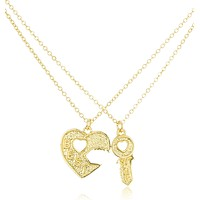 "Goldtone Key to the Heart ""Best Friend"" 18 Inch Adjustable Necklaces"