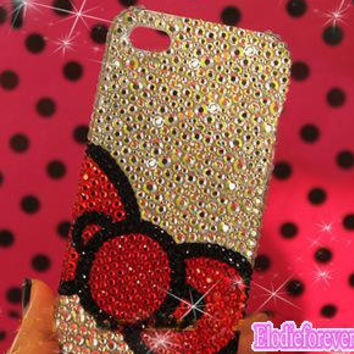 Red Bow iPhone 5 Case,Bow-knot iPhone 4 case,Rosette iPhone case, Swarovski crystals iPhone 4S Case, Bling Rhinestone iPhone case,C009