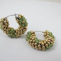 Gold Chunky Hoop Earrings, Woven Green Peridot Gold Beaded Jewelry, 14K Yellow Gold