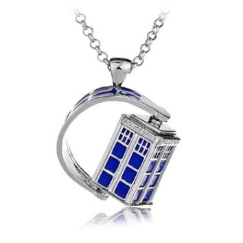 Police Box Rotatable Pendant Necklace